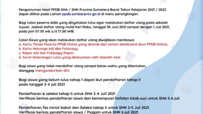Penerimaan Peserta Didik Baru (PPDB) Sumatera Barat 2021 untuk jenjang SMA/SMK tahap kedua.