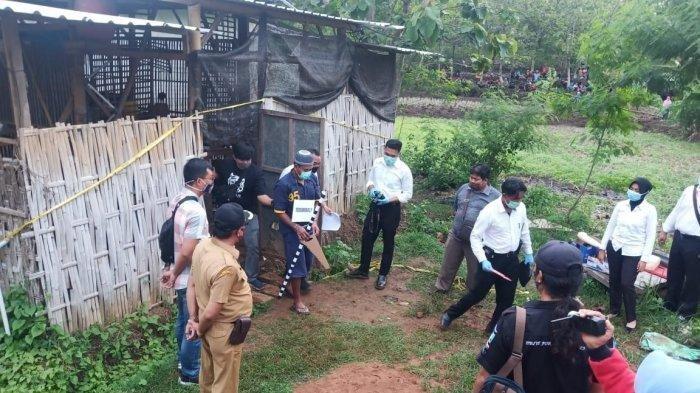 Pra Rekonstruksi pembunuhan YL yang dilakukan di Desa Puhgogor, Kecamatan Bendosari, Sukoharjo.