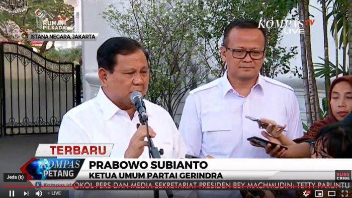 Prabowo dan Edhy Prabowo usai bertemu Jokowi, Senin (21/10/2019).