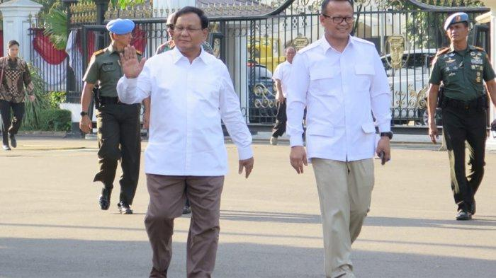 Ketua Umum Gerindra Prabowo Subianto dan Wakil Ketua Umum Gerindra Edhy Prabowo menyambangi Istana Kepresidenan, Jakarta