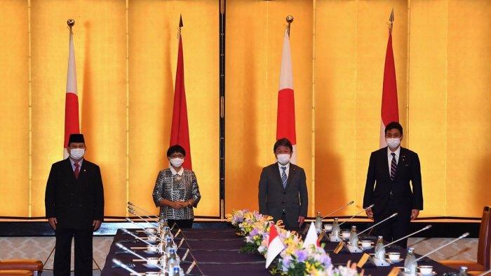 Kunjungan kehormatan Menteri Pertahanan RI Prabowo Subianto Menteri Luar Negeri RI Retno Marsudi kepada Pemerintah Jepang di Tokyo, Selasa (30/3/2021).