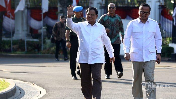 Ketua Umum Partai Gerindra, Prabowo Subianto (kiri) didampingi Wakil Ketua Umum Partai Gerindra, Edhy Prabowo tiba di kompleks Istana Kepresidenan, Jakarta Pusat, Senin (21/10/2019) sore. Sesuai rencana, Presiden Joko Widodo memperkenalkan jajaran kabinet barunya kepada publik mulai hari ini usai Jokowi dilantik pada Minggu (20/10/2019) kemarin untuk masa jabatan periode 2019-2024 bersama Wakil Presiden Ma'ruf Amin. Tribunnews/Irwan Rismawan