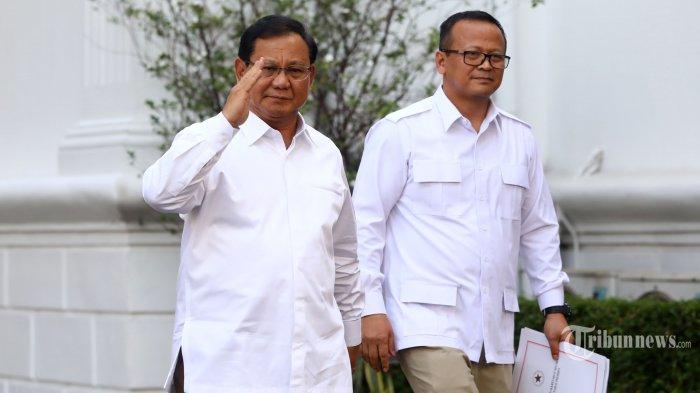 Ketua Umum Partai Gerindra, Prabowo Subianto (kiri) didampingi Wakil Ketua Umum Partai Gerindra, Edhy Prabowo keluar dari dalam kompleks Istana Kepresidenan, Jakarta Pusat, Senin (21/10/2019) sore. Sesuai rencana, Presiden Joko Widodo memperkenalkan jajaran kabinet barunya kepada publik mulai hari ini usai Jokowi dilantik pada Minggu (20/10/2019) kemarin untuk masa jabatan periode 2019-2024 bersama Wakil Presiden Ma'ruf Amin. Tribunnews/Irwan Rismawan