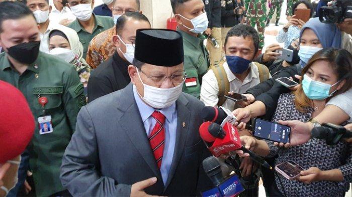 Menteri Pertahanan Prabowo Subianto menghadiri rapat kerja bersama Komisi I DPR RI, Rabu (2/6/2021).