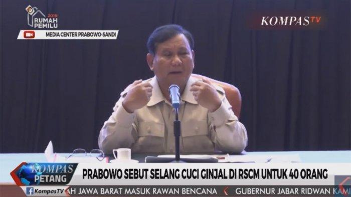 Prabowo Sebut Selang Cuci Darah RSCM Dipakai 40 Pasien, Gerindra: Mungkin Maksudnya Tabung Dialisis