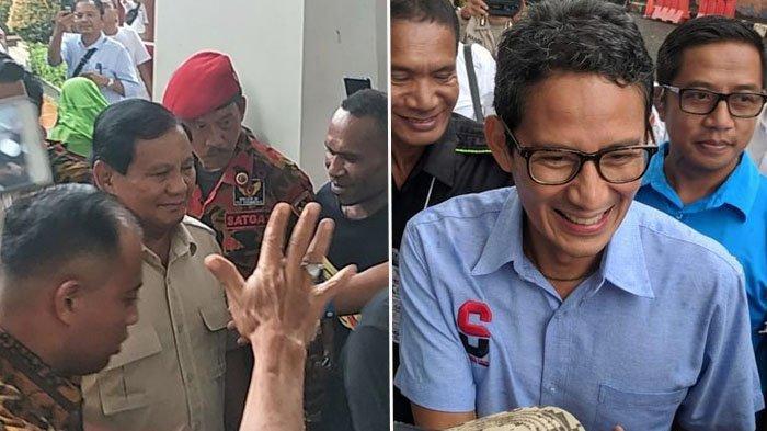 Prabowo Subianto tiba di TMII, sementara Sandiaga Uno pilih tak hadiri syukuran klaim kemenangan.