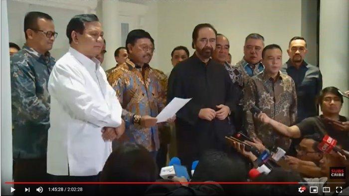 Sekjen DPP Partai NasDem Johnny G Plate bacakan kesepakatan NasDem-Gerindra, Minggu (13/9/2019). (tangkap layar KompasTV)
