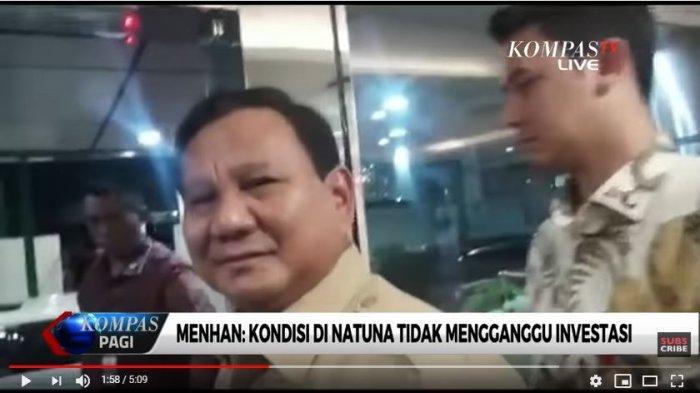Tangkap Layar YouTube KompasTV Menteri Pertahanan, Prabowo Subianto angkat suara, menanggapi memanasnya kondisi di Perairan Natuna terkait intervensi China.