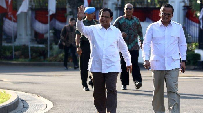 Ketua Umum Partai Gerindra, Prabowo Subianto (kiri) didampingi Wakil Ketua Umum Partai Gerindra, Edhy Prabowo tiba di kompleks Istana Kepresidenan, Jakarta Pusat, Senin (21/10/2019) sore. Sesuai rencana, Presiden Joko Widodo memperkenalkan jajaran kabinet barunya kepada publik mulai hari ini usai Jokowi dilantik pada Minggu (20/10/2019) kemarin untuk masa jabatan periode 2019-2024 bersama Wakil Presiden Ma'ruf Amin.