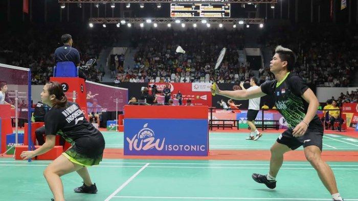 Wakil ganda campuran Indonesia, Praven Jorda/Melati Daeva Oktavianti harus mengakhiri perjuangannya di Indonesia Masters 2020, Jumat (17/1/2020).