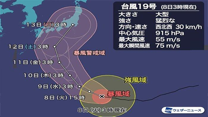 Prediksi Wheather News mengenai kedatangan taifun No.19, Sabtu (12/1/2019) dan  Minggu (13/10/2019) di Tokyo dan sekitarnya lebih berbahaya ketimbang taifun sebelumnya.