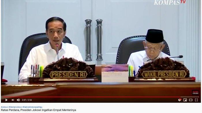Presiden Jokowi didampingi Wakil Presiden Ma'ruf Amin gelar rapat terbatas (ratas) perdana di Kantor Presiden, Jakarta (30/10/2019)