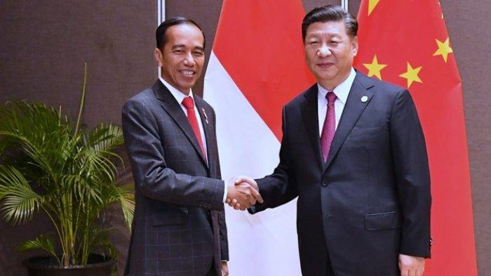 Presiden Joko Widodo bersalaman dengan Presiden RRT Xi Jinping usai melakukan pertemuan bilateral di sela forum internasional APEC di Port Moresby, Papua Nugini, Sabtu (17/11/2018)
