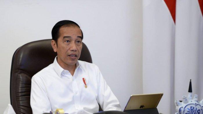 Presiden Joko Widodo (Jokowi) dalam rapat melalui telekonference, Jumat (3/4/2020).