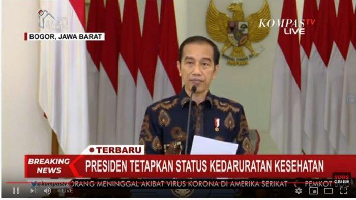 Presiden Joko Widodo (Jokowi) dalam konferensi pers, Selasa (31/3/2020)
