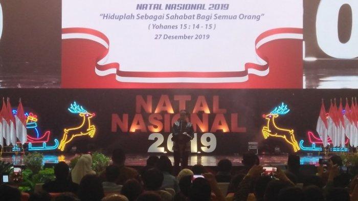 Presiden Joko Widodo (Jokowi) dalam perayaan Natal nasional 2019 di Sentul International Convention Center (SICC), Bogor, Jumat (27/2/2019) malam.