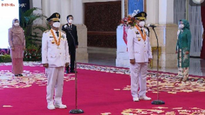 Presiden Joko Widodo (Jokowi) melantik pasangan Rusdi Mastura dan Mamun Amir sebagai gubernur dan wakil gubernur terpilih Sulawesi Tengah, Rabu (16/6/2021).