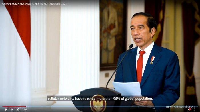 Presiden Jokowi saat menjadi pembicara kunci ASEAN Business and Investment Summit 2020 (ABIS 2020) secara daring, Jumat (13/11/2020).