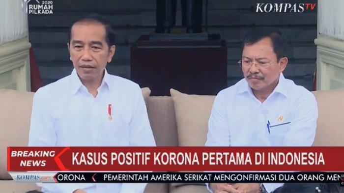 Presiden Jokowi bersama Menteri Kesehatan Republik Indonesia, Terawan Agus Putranto (Tangkap layar channel YouTube KOMPASTV)