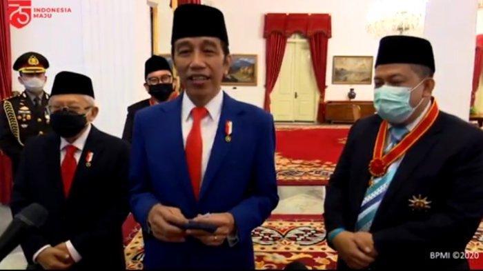 Presiden Jokowi didampingi Wapres Ma'ruf Amin dan Mantan Wakil Ketua DPR RI di Istana Negara Jakarta.