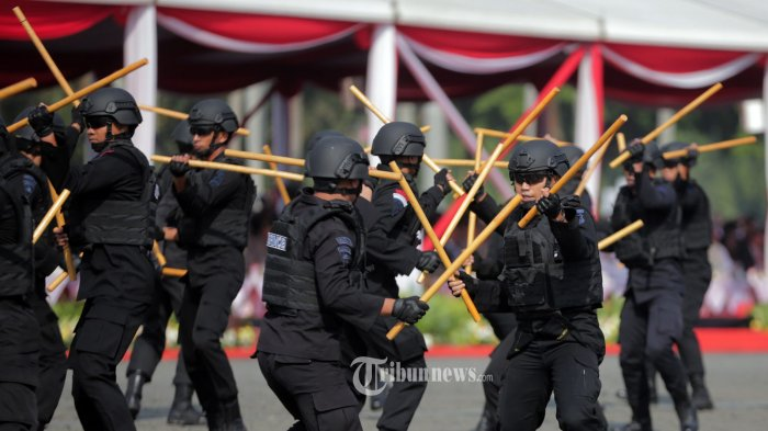 HUT KE 73 BHAYANGKARA - Pasukan Brimob menunjukan atraksi bela diri pada  upacara puncak perayaan HUT ke-73 Bhayangkara dan bertindak sebagai inspektur upacara di Silang Monas,  Gambir, Jakarta Selatan, Rabu (10/7/2019). Presiden  Jokowi yang menjadi  inpektur uapacara mengapresiasi atas pencapaian Wajar Tanpa Pengecualian (WTP) dari BPK serta berharap sinergitas TNI - Polri dapat ditingkatkan dalam upaya menghadapi berbagai tantangan tugas yang semakin kompleks. Warta Kota/henry lopulalan