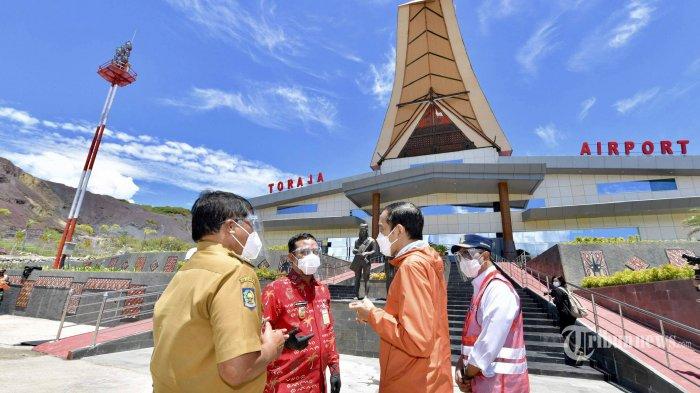 Presiden Joko Widodo meresmikan Bandara Toraja di Kabupaten Tana Toraja, Sulawesi Selatan, Kamis (18/3/2021). Dalam peresmian tersebut Presiden Jokowi didampingi oleh Mensesneg, Menhub, Wamenkes, dan Pjs Gubernur Sulsel serta Bupati Tana Toraja. Tribunnews/HO/Setpres/Agus Suparto