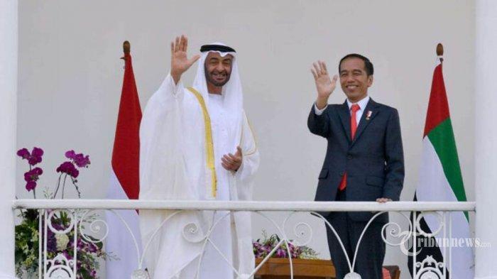 Presiden Joko Widodo menerima kunjungan kenegaraan Putra Mahkota Abu Dhabi  Sheikh Mohamed Bin Zayed Al Nahyan di Istana Kepresidenan Bogor, Jawa Barat, Rabu (24/7/2019). Pada kesempatan tersebut, keduanya menyepakati kerja sama di bidang ekonomi dan keumatan yang ditandai dengan pertukaran 9 nota kesepahaman antara kedua negara. TRIBUNNEWS/SETPERS/LAILY RACHEV