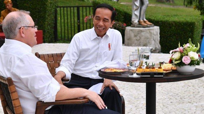 Presiden Jokow Widodo menjamu PM Australia, Scott Morrison dengan makanan tradisional di Istana Bogor, Sabtu (1/9/2018).