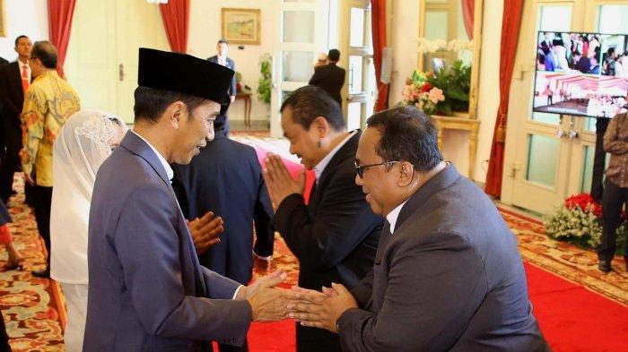 Presiden KSPSI Andi Gani Nena Wea hadiri open house di Istana Negara, Rabu (5/6/2019).