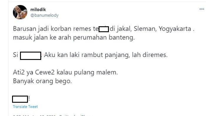 Pria rambut panjang di Yogyakarta jadi korban begal payudara pada Rabu (13/1/2021) dini hari.