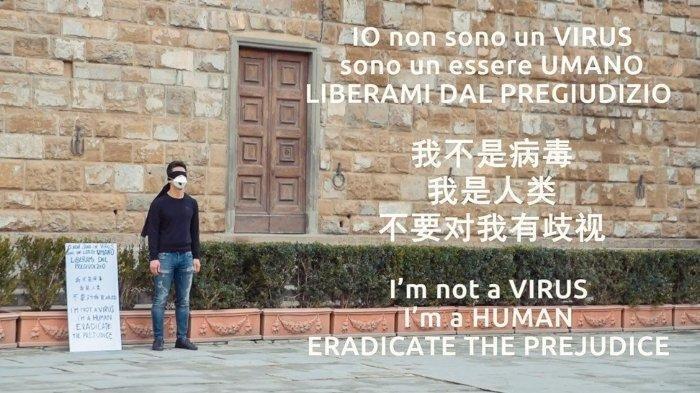 Viral Pria Keturunan China di Italia Lakukan Aksi Lawan Rasisme: 'Saya bukan virus, saya manusia'
