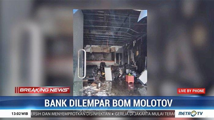 Pria Tak Dikenal Lempar Bom Molotov ke Kantor Bank di Ampana, Ruangan dan Berkas Penting Terbakar