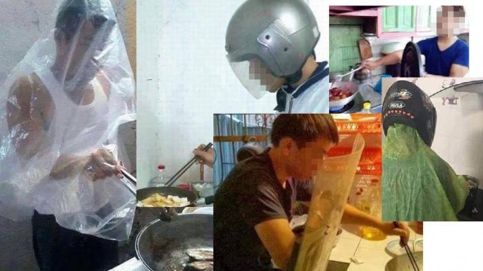 Ketika Kaum Adam 'Takut' Minyak Panas, Foto-foto Pria Goreng Lauk Pakai Helm jadi Viral