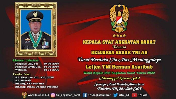 Koorsahli KSAD Pimpin Upacara Pemakaman Wakasad Letjen TNI Herman Asaribab