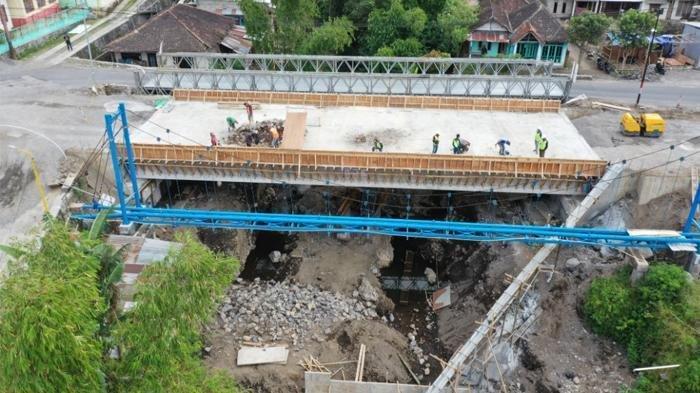 progres pekerjaan penggantian Jembatan Lodukuh