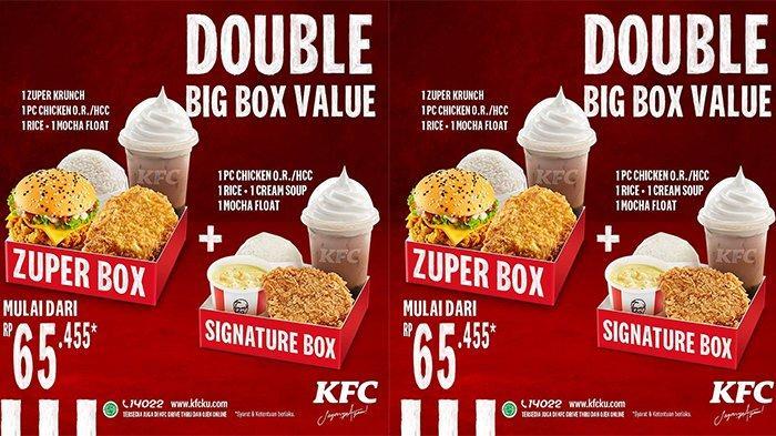 PROMO KFC Double Big Box Value Cukup Bayar Rp 65.455, Dapat Paket Spesial Makan Bedua