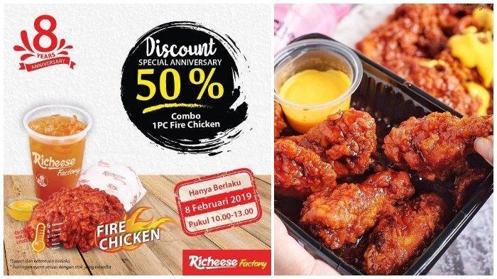 CUMA HARI INI Promo Richeese Factory - Diskon 50 Persen untuk Paket Combo Fire Chicken