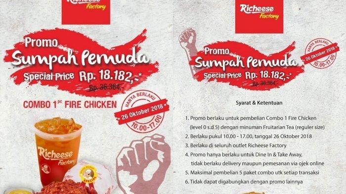 Hanya Hari Ini! Promo Sumpah Pemuda Richeese Factory, Rp 18 Ribu Dapat Paket Combo Fire Chicken
