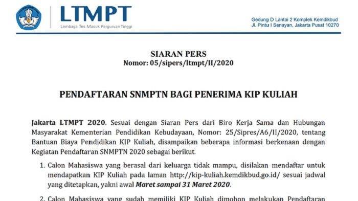 Prosedur pendaftaran SNMPTN 2020 bagi penerima KIP Kuliah