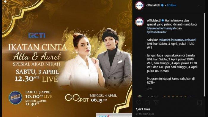 LIVE STREAMING RCTI Pernikahan Aurel & Atta Halilintar, Jokowi dan Prabowo Saksi Akad Nikah