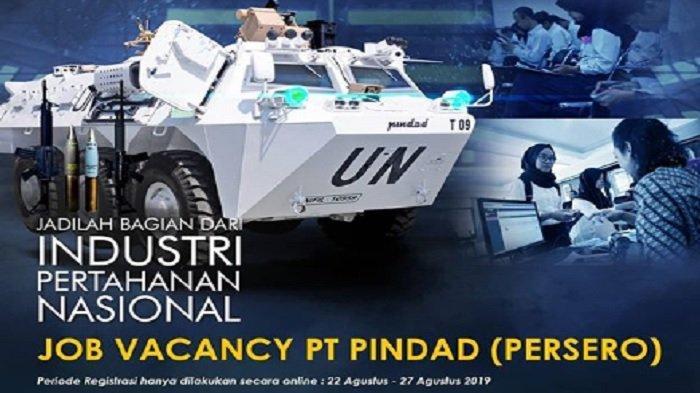 PT Pindad (Persero) Buka Lowongan Kerja Pendidikan D3 hingga S1, Pendaftaran hingga 27 Agustus