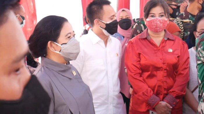 Ketua DPR RI Puan Maharani ketika meninjau vaksinasi Covid-19 di Kelurahan Tanah Sereal, Tambora, Jakarta Barat, Sabtu (25/9/2021).