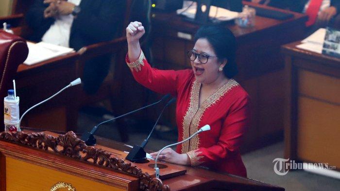 Puan Maharani resmi menjadi Ketua DPR periode 2019-2024 yang ditetapkan dalam rapat paripurna perdana DPR di kompleks parlemen, Senayan, Jakarta Pusat, Selasa (1/10/2019).