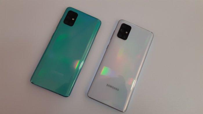 Punggung Galaxy A51 (kiri) dan Galaxy A71