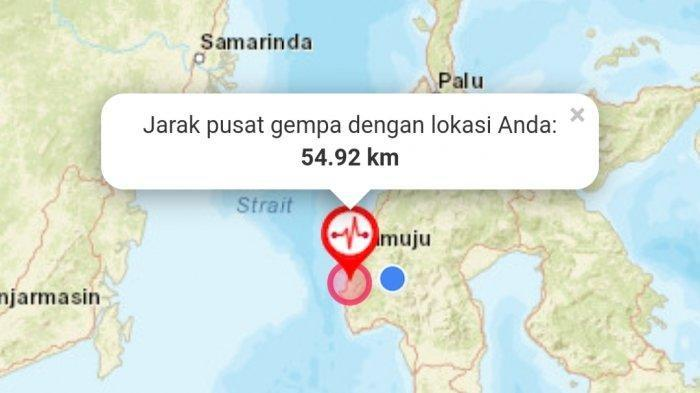 Pusat gempa di Kabupaten Majene, Sulawesi Barat