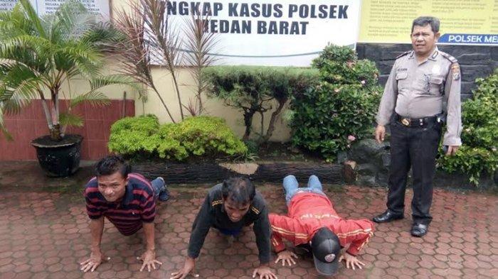 Kerap Peras Warga Kota Medan, Tiga Preman Kena Hukuman Push Up
