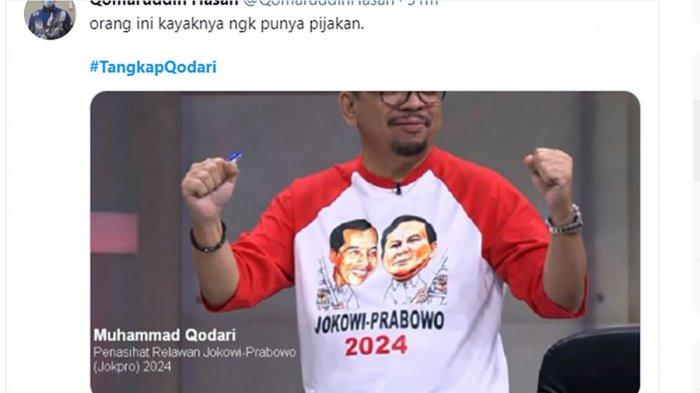 Usung Wacana Jokowi 3 Periode, Tagar 'TangkapQodari' Trending Topic di Linimasa Twitter