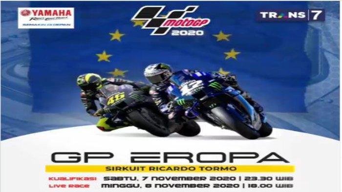Jadwal MotoGP Eropa 2020 dan Jam Tayang Live Streaming TRANS 7, Race Premier Pukul 20.00 WIB