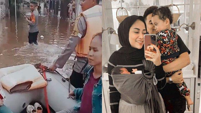 Kebanjiran, Rachel Vennya Boyong Keluarganya Naik Perahu Karet untuk Mengungsi, Lihat Expresi Xabiru