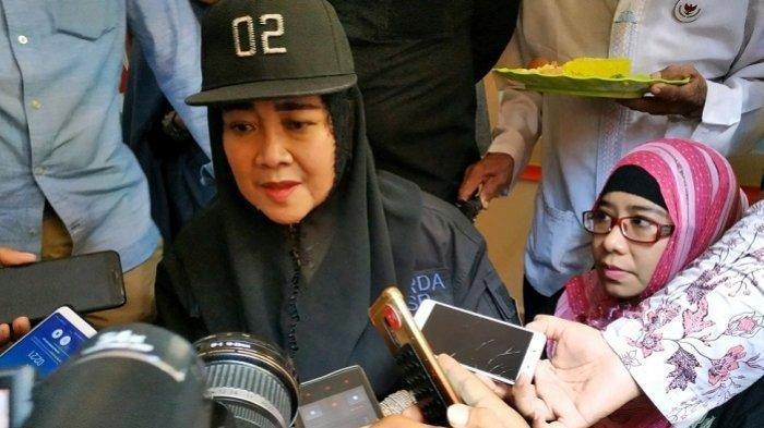 Rachmawati Soekarnoputri usai peresmian posko Garda RSP di Jalan Rajiman nomor 483, Laweyan, Kelurahan Bumi, Kecamatan Laweyan, Kota Solo, Jumat (8/2/2019).